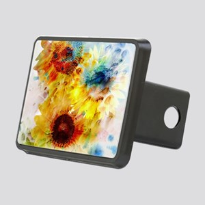 Watercolor Sunflowers Rectangular Hitch Cover