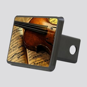 Violin On Music Sheet Rectangular Hitch Cover