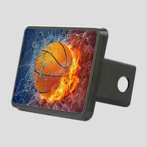 Flaming Basketball Ball Splash Rectangular Hitch C