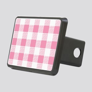 Pink Gingham Pattern Rectangular Hitch Cover