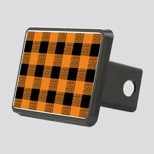 Orange And Black Gingham Rectangular Hitch Cover