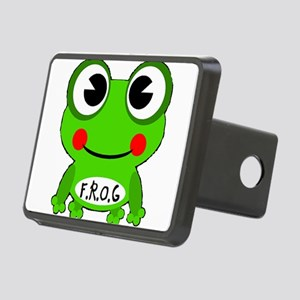 Cute Cartoon Frog Fully Rely On God Hitch Cover