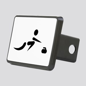 Curling player icon Rectangular Hitch Cover