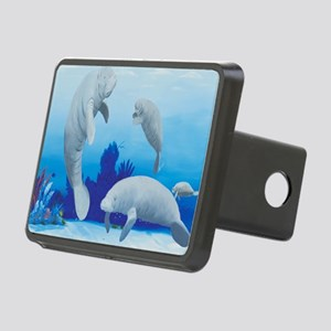manatees-3-square Rectangular Hitch Cover