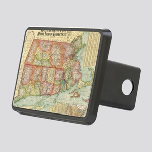 Vintage Map of New England Rectangular Hitch Cover