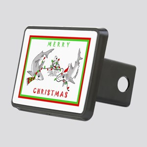 Christmas Sharks Rectangular Hitch Cover