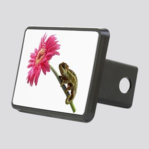 Chameleon Lizard on pink flower Rectangular Hitch