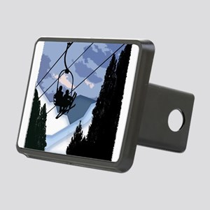 Chairlift Full of Skiers Rectangular Hitch Cover