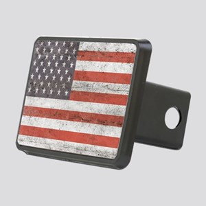 Vintage American Flag Rectangular Hitch Cover