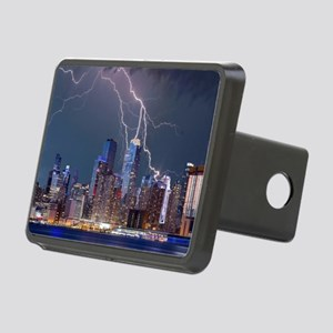 Lightning over New York Ci Rectangular Hitch Cover