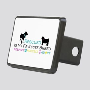 Rescued Is Favorite Breed Rectangular Hitch Cover