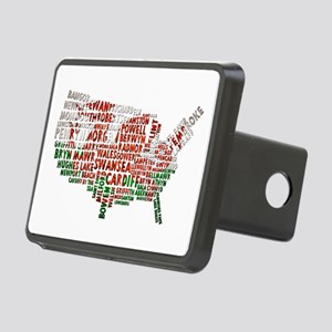 Welsh Place Names USA Map Rectangular Hitch Cover