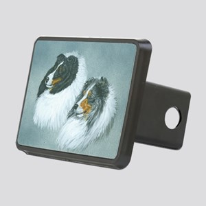 Blue and Tri Sheltie Heads Rectangular Hitch Cover
