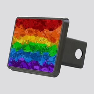 Rainbow Paint Splatter Flag Hitch Cover