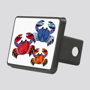 Blue & Red Mosaic Crab Tri Rectangular Hitch Cover