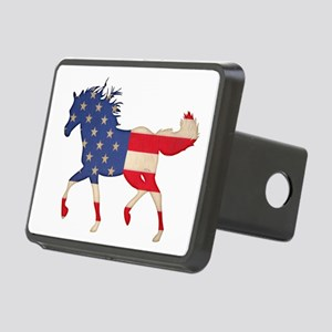 American Flag Horse Rectangular Hitch Cover