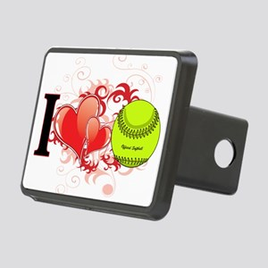 l love Softball Rectangular Hitch Cover