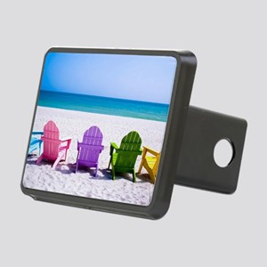 Lounge Chairs On Beach Rectangular Hitch Cover