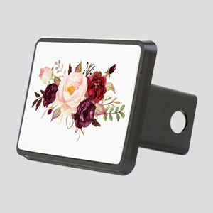 Burgundy Red Pink Roses Floral Hitch Cover