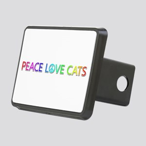 Peace Love Cats Rectangular Hitch Cover