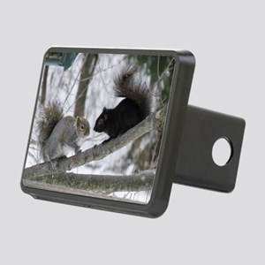 Black and Gray Squirrel Rectangular Hitch Cover