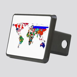 World Map With Flags Hitch Cover