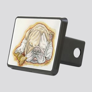 Sleepy English Bulldog with Bone Rectangular Hitch