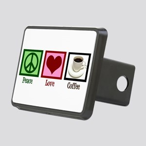 Peace Love Coffee Rectangular Hitch Cover