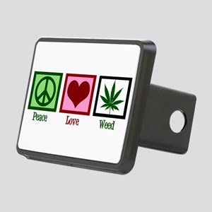 Peace Love Weed Rectangular Hitch Cover