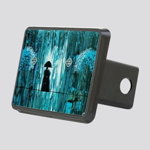 Love in the Teal Rain Rectangular Hitch Cover