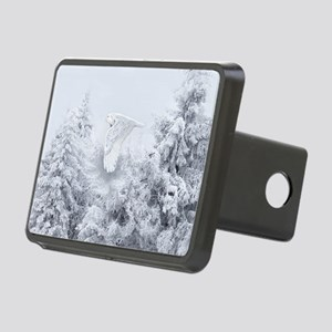 Snowy Owl in Blizzard Rectangular Hitch Cover