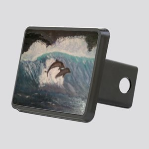 Dolphins oil on canvas Rectangular Hitch Cover