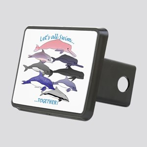 Dolphins Swim Together Rectangular Hitch Cover