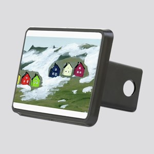 Colorful Winter Houses Rectangular Hitch Cover