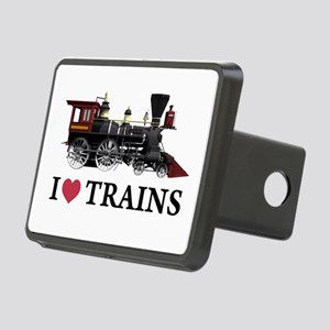 I LOVE TRAINS copy Rectangular Hitch Cover