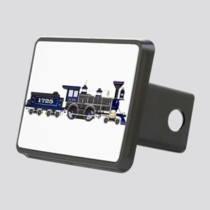 steam train blue and black Rectangular Hitch Cover