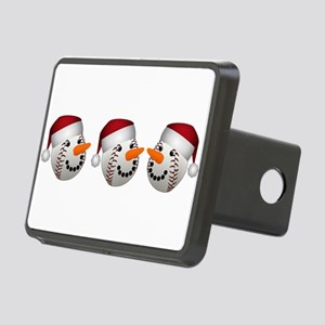 Christmas Baseball Snowman Rectangular Hitch Cover