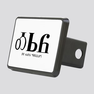It says HelloBLACK Rectangular Hitch Cover
