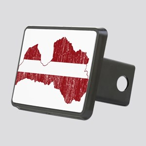 Latvia Flag And Map Rectangular Hitch Cover