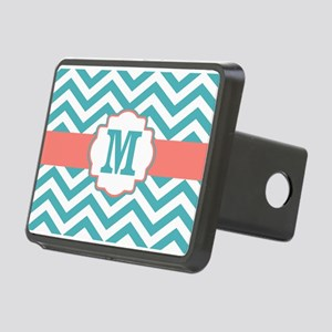Coral Teal Chevron Monogram Hitch Cover
