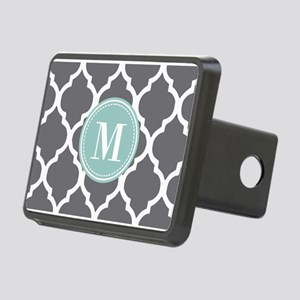 Gray Mint Quatrefoil Monog Rectangular Hitch Cover