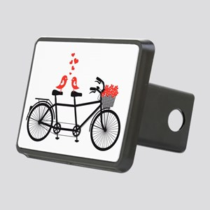 tandem bicycle with cute love birds Hitch Cover