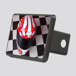 Race Helmet on Checkered Flag Hitch Cover