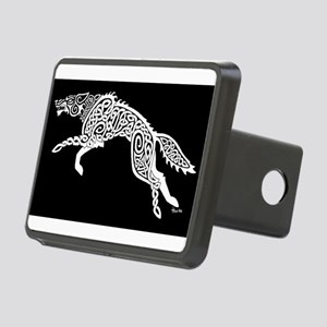 White Wolf on Black Rectangular Hitch Cover