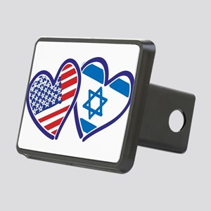 USA and Israel Flag Hearts Rectangular Hitch Cover