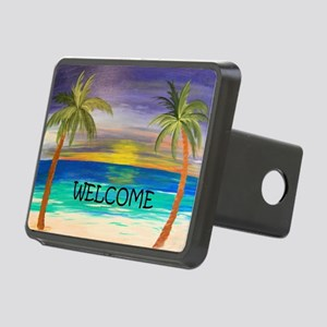 Welcome Tropical Sunset Be Rectangular Hitch Cover