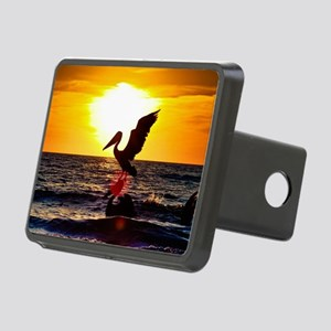 Pelican On Ocean At Sunset Hitch Cover