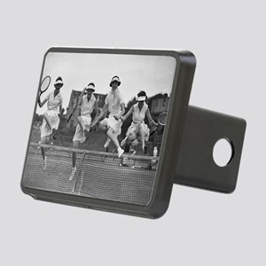Women with Tennis Rackets Rectangular Hitch Cover