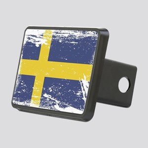 Grunge Sweden Flag Rectangular Hitch Cover