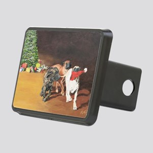 Puppies Chasing Santa Hat Rectangular Hitch Cover